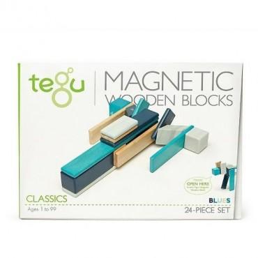 Drewniane klocki magnetyczne Classics zestaw 24szt Blues Tegu