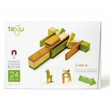 Drewniane klocki magnetyczne Classics zestaw 24szt Jungle Tegu