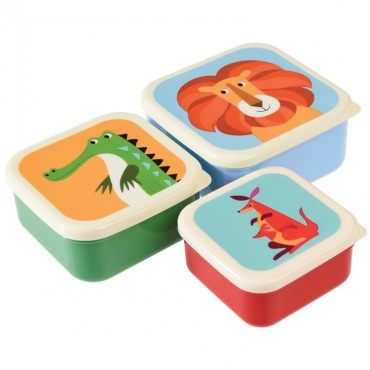 Zestaw trzech kolorowych pudełek na przekąski Rex London
