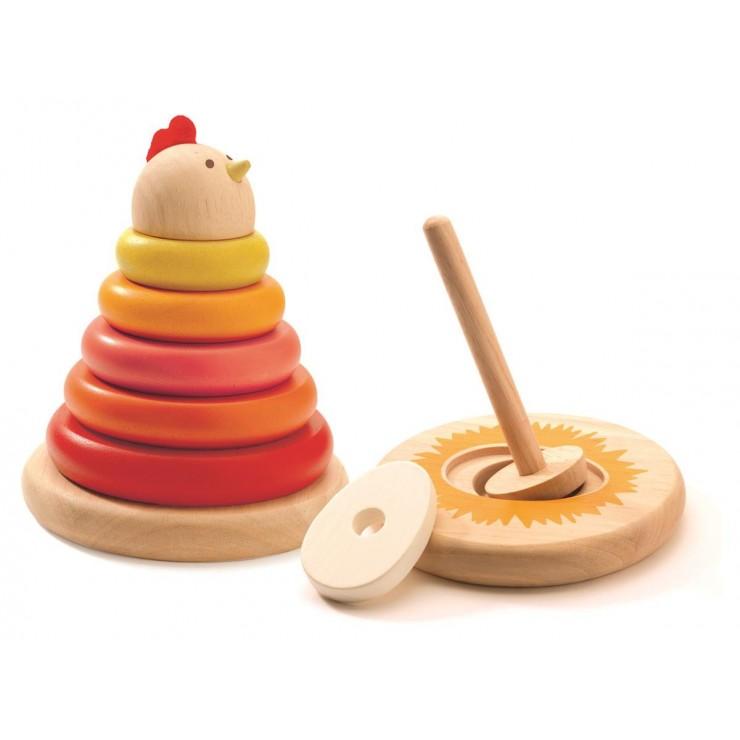 Drewniane nakładane kółka - Kura Djeco