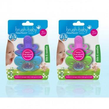 MolarMunch Teether gryzak do zębów bocznych dla dzieci od 4 miesiąca życia 2 szt. zielono-różowy Brush-Baby