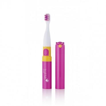 Go-KIDZ Electric Travel Toothbrush podróżna szczoteczka soniczna z naklejkami dla dzieci różowa Brush-Baby