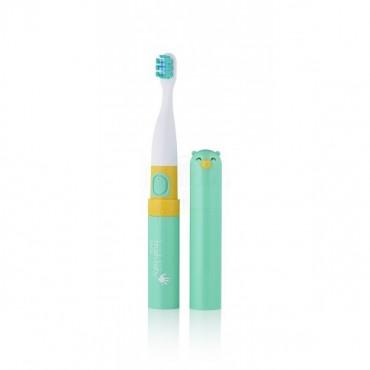 Go-KIDZ Electric Travel Toothbrush podróżna szczoteczka soniczna z naklejkami dla dzieci zielona Brush-Baby