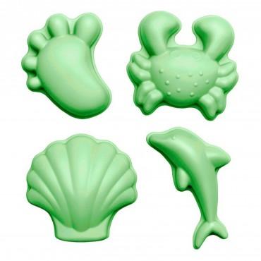 Silikonowe Foremki do piasku 4 szt. Scrunch - Pastelowy Zielony Funkit World