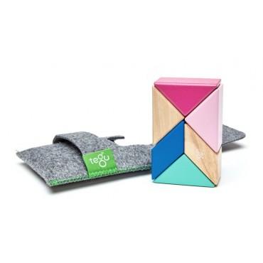 Drewniane klocki magnetyczne Pocket Pouch Prism 6szt Blossom Tegu