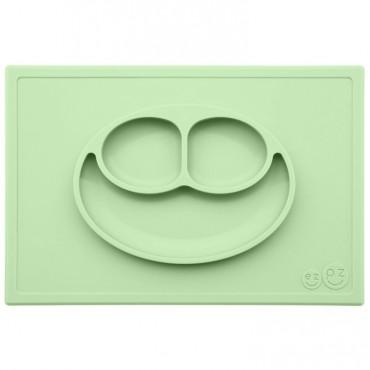 EZPZ Silikonowy talerzyk z podkładką 2w1 Happy Mat pastelowy zieleń