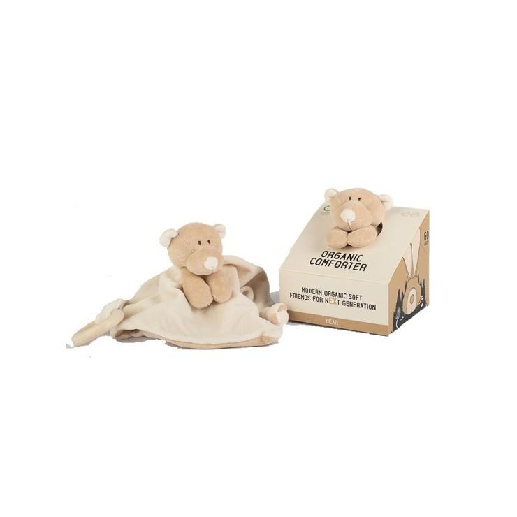 Wooly Organic Classic Teddy Miś przytulaczek z drewnianym gryzakiem 24 cm