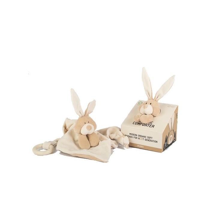 Wooly Organic Classic Bunny Zajączek przytulaczek z drewnianym gryzakiem 24 cm