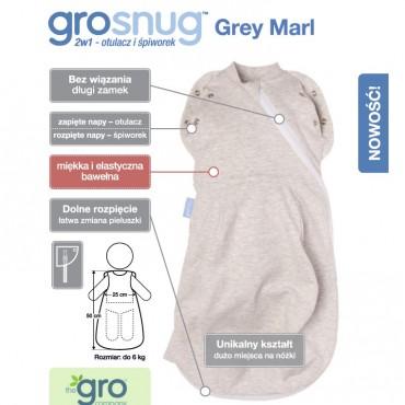 Otulacz-śpiworek Grosnug Grey Marl Gro Company
