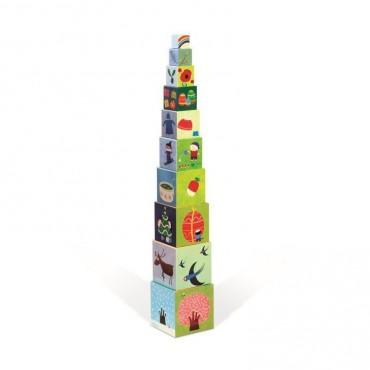 Piramida wieża 10 kostek Pory roku Janod