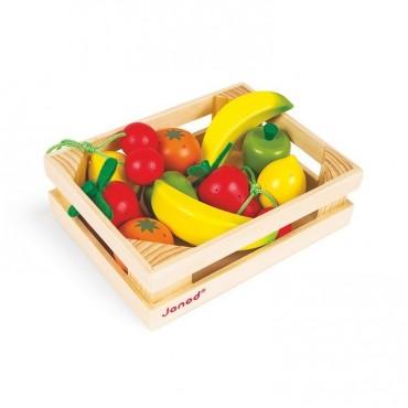 Owoce drewniane 12 szt. w skrzyneczce Janod