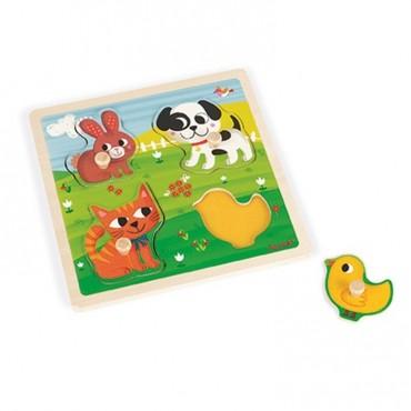 """Puzzle sensoryczne drewniane """"Moje pierwsze zwierzątka"""" Janod"""