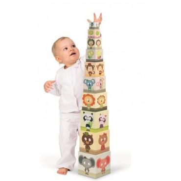 Piramida wieża 10 kostek Zwierzęta Janod