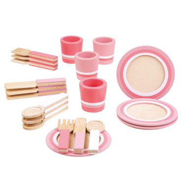 Różowy zestaw obiadowy BigJigs