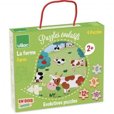 4 drewniane puzzle...