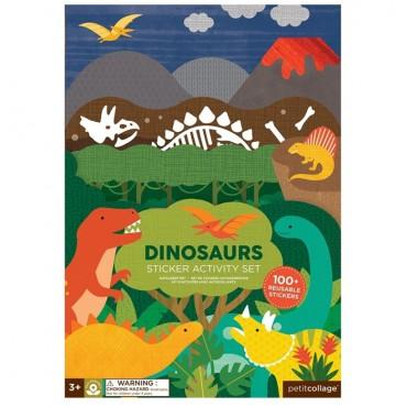 Naklejki wielorazowe z planszą Dinozaur Petit Collage
