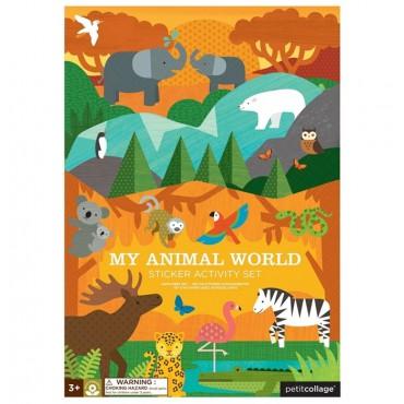 Naklejki wielorazowe z planszą Zwierzęta Świata Petit Collage