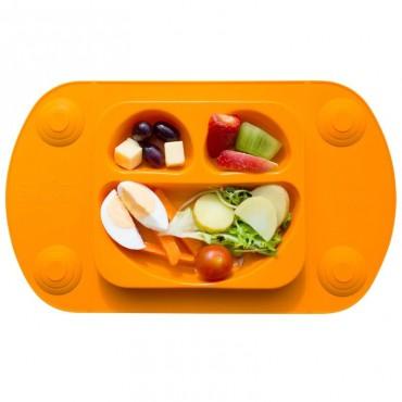 EasyMat Mini 2in1 ORANGE silikonowy talerzyk z podkładką lunchbox EasyTots