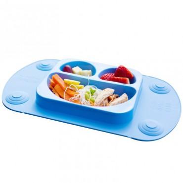 EasyMat Mini 2in1 BLUE silikonowy talerzyk z podkładką lunchbox EasyTots