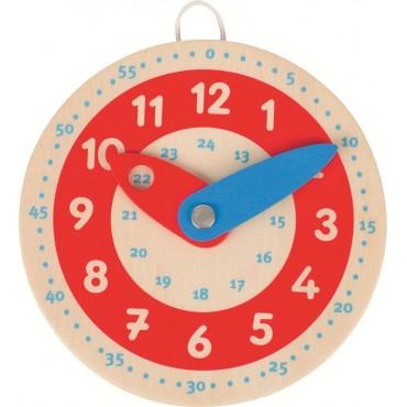 Drewniany zegar czerwona...
