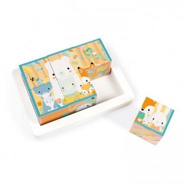 Klocki drewniane puzzle 6w1...