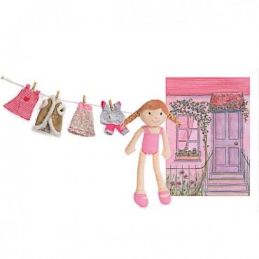 Walizka z ubraniami z lalką...