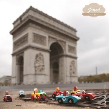 Wyścigówka drewniana Racer Janod (czerwona i żółta)