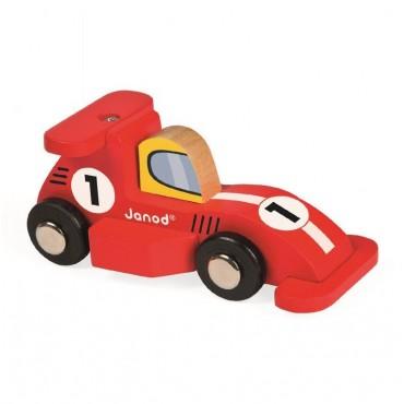 Wyścigówka drewniana Formuła1 Janod (czerwona i srebrna)