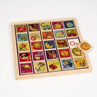 Magnetyczne drewniane puzzle i płytki z literkami Magnetic Alphabetic B. Toys