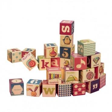 Drewniane klocki z literkami i obrazkami w drewnianej tacy Two Four Blocks B. Toys