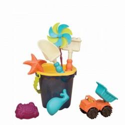 Wiaderko średnie z akcesoriami do piasku – niebieskie Sands Ahoy! B. Toys