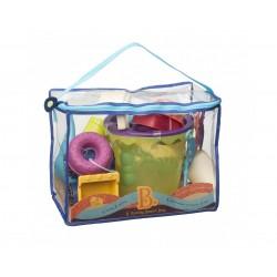 Torba z zestawem akcesoriów do piasku - niebieski Summer Beach Bag B. Toys