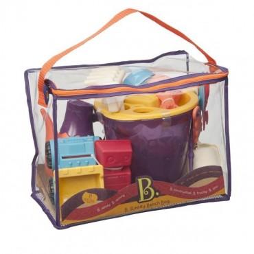 Torba z zestawem akcesoriów do piasku - pomarańczowy Summer Beach Bag B. Toys