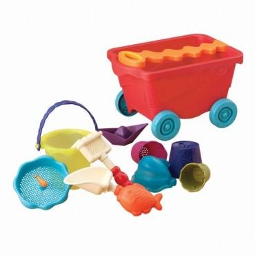 Wózek-wagonik z akcesoriami do piasku CZERWONY Wavey Wagon B. Toys