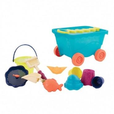 Wózek-wagonik z akcesoriami do piasku NIEBIESKI transparentny Wavey - Wagon Travel Beach Wagon B. Toys