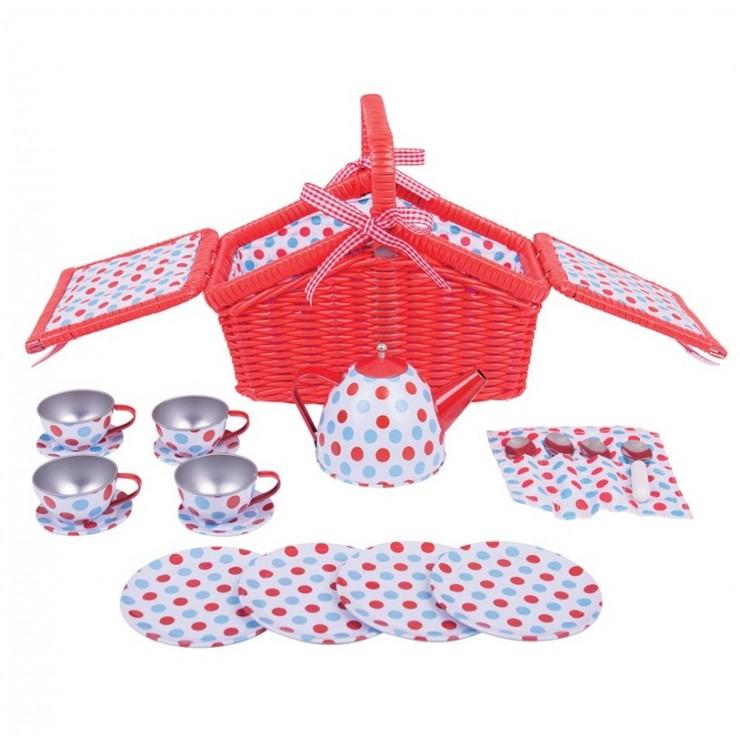 Serwis do herbatki w koszyczku (w kropki) BigJigs
