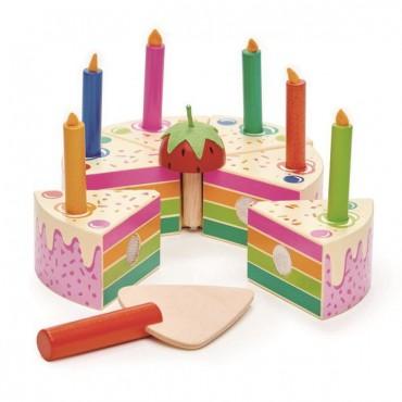Tęczowy, drewniany tort...