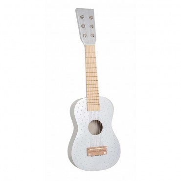 Drewniana gitara srebrna...