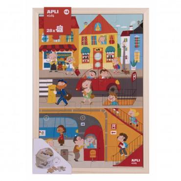 Drewniane puzzle w ramce -...