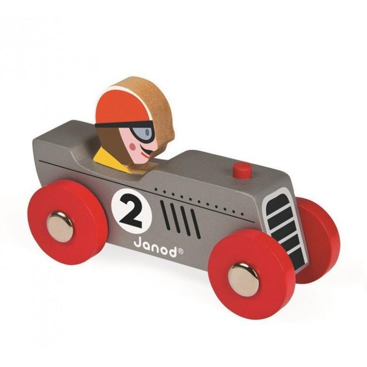 Wyścigówka drewniana Retromotor Janod (niebieska i srebrna)
