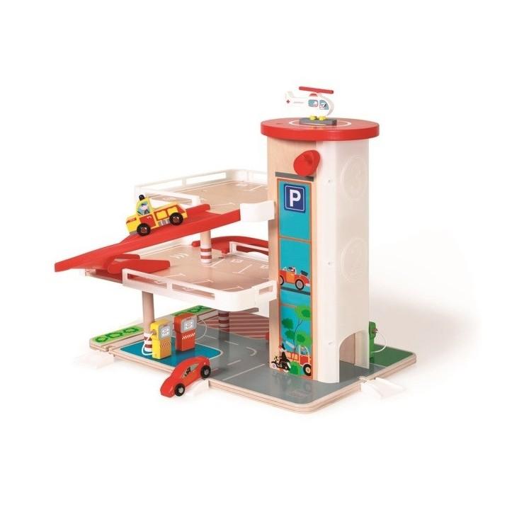 Garaż drewniany z windą i ze zjeżdżalnią Scratch