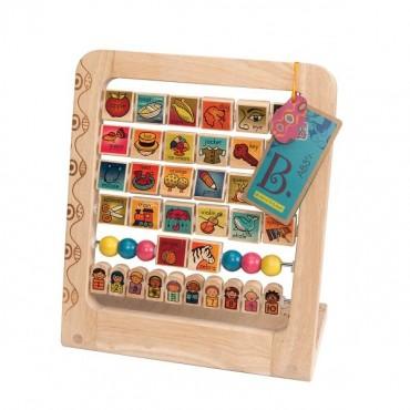 Drewniany stojak - Alfabet i liczby - obracane kostki AB3'S B. Toys