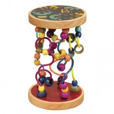 Drewniane paciorki na zakręconych drążkach A-MAZE, LOOPTY LOO B. Toys