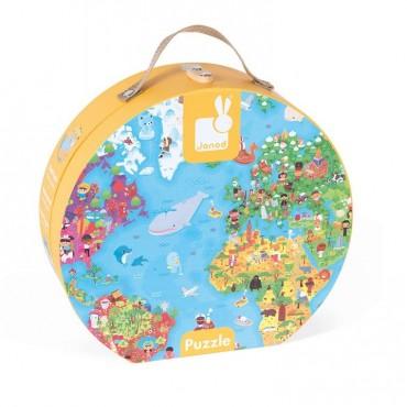 Puzzle w walizce Mapa Świata 300 elementów Janod