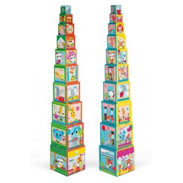 Piramida wieża 10 kostek Przyjaciele z miasta Janod