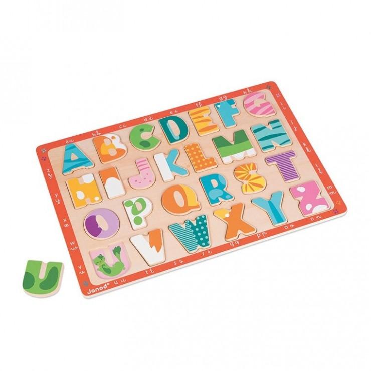 Puzzle drewniane Kolorowy alfabet Janod