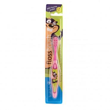 BRUSH-BABY FlossBrush szczoteczka manualna dla dzieci wieku od 3 do 6 lat różowa