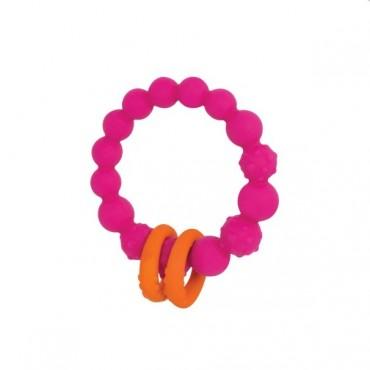 Gryzak silikonowy kółko z pierścieniami - fuksja B. Toys