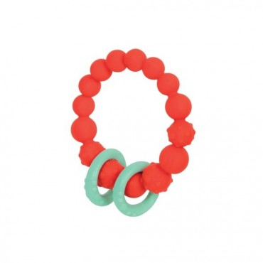 Gryzak silikonowy kółko z pierścieniami - pomarańczowy B. Toys