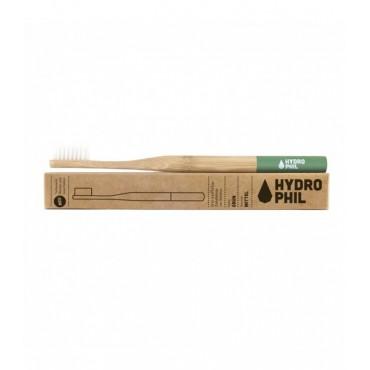 Naturalna, wegańska szczoteczka do zębów z biodegradowalnego bambusa, WŁOSIE ŚREDNIE, zielona, Hydrophil